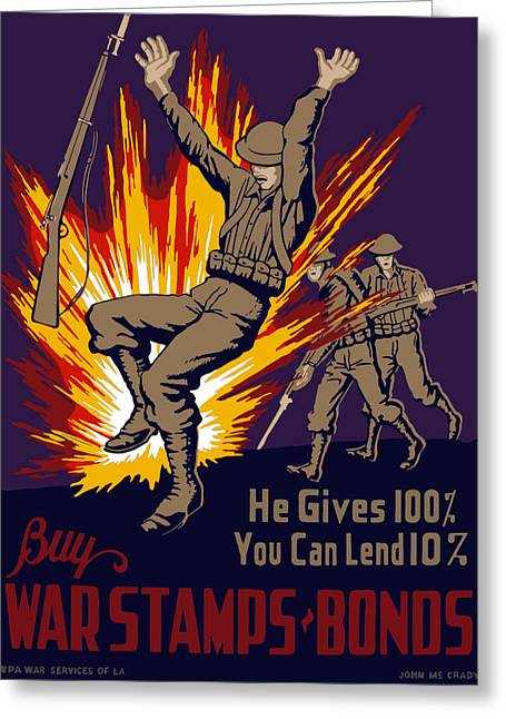 Buy Digital Art Greeting Cards - Buy War Stamps And Bonds Greeting Card by War Is Hell Store