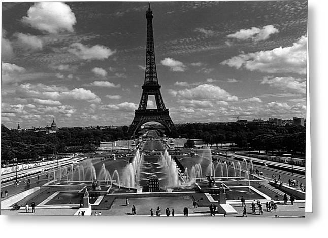 Fontain Greeting Cards - BW France Paris Fontain Chaillot Tour Eiffel 1970s Greeting Card by Issame Saidi