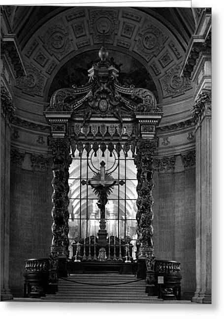 Altar Picture Greeting Cards - BW France Paris royal chapel altar St James Palace 1970s Greeting Card by Issame Saidi