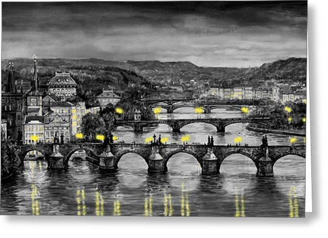 Greeting Cards - BW Prague Bridges Greeting Card by Yuriy  Shevchuk