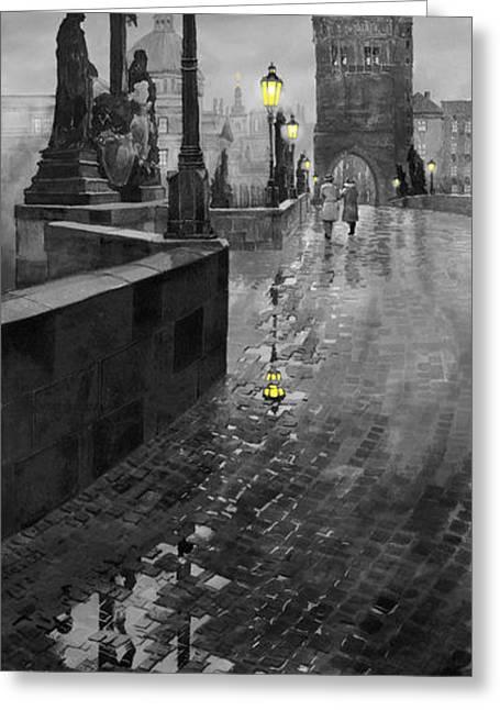 Charles Greeting Cards - BW Prague Charles Bridge 01 Greeting Card by Yuriy  Shevchuk