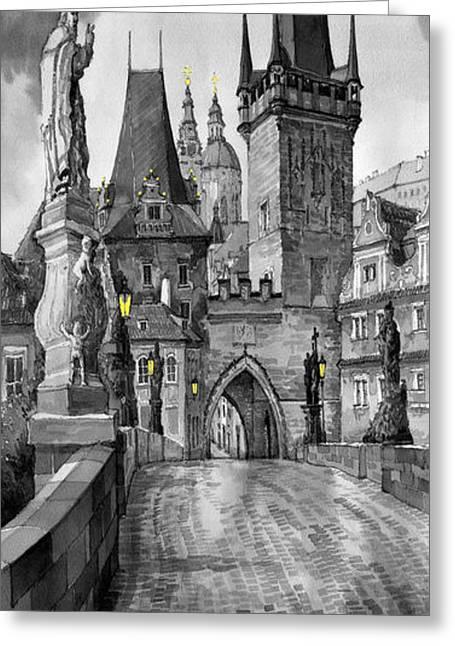 Charles Greeting Cards - BW Prague Charles Bridge 02 Greeting Card by Yuriy  Shevchuk
