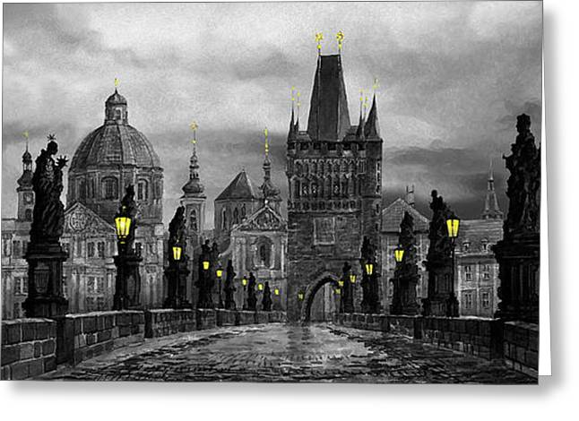 Europe Greeting Cards - BW Prague Charles Bridge 04 Greeting Card by Yuriy  Shevchuk