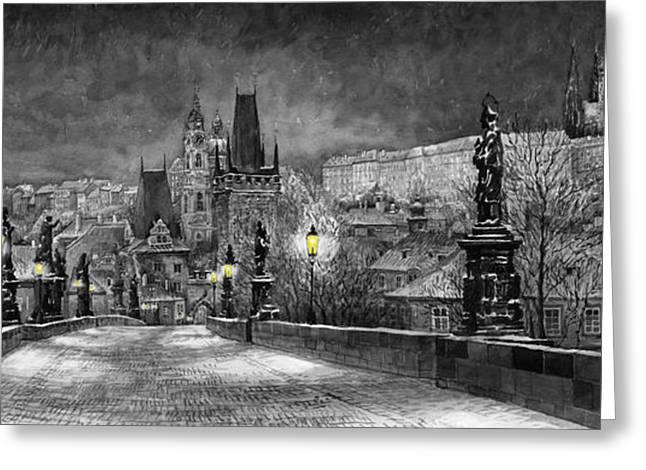 Greeting Cards - BW Prague Charles Bridge 06 Greeting Card by Yuriy  Shevchuk
