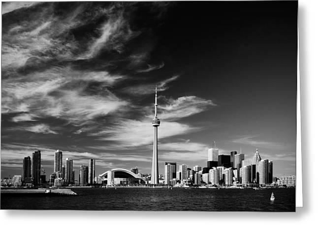 BW skyline of Toronto Greeting Card by Andriy Zolotoiy