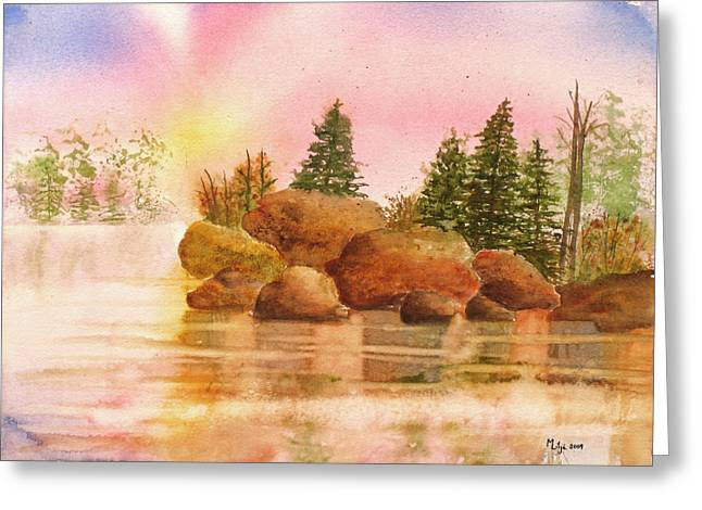 Boundary Waters Paintings Greeting Cards - BWCAW Sunrise Greeting Card by Midge Lilja