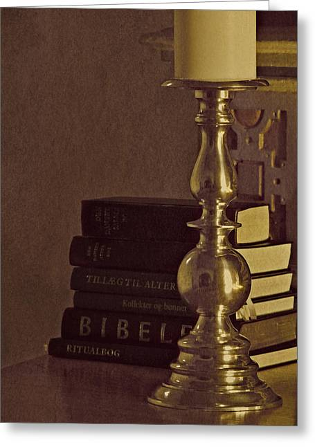 Candleholder Greeting Cards - By The Book Greeting Card by Odd Jeppesen