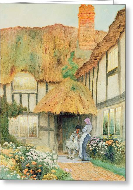 By The Cottage Door Greeting Card by Arthur Claudes Strachan