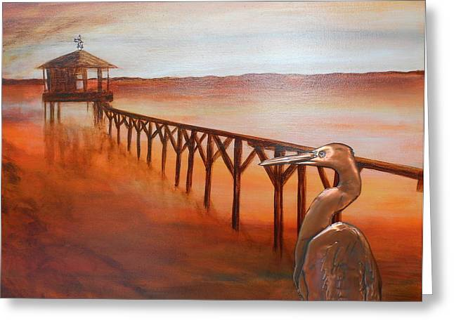 Weathervane Mixed Media Greeting Cards - By the Dock of the Bay Greeting Card by Judy McFee