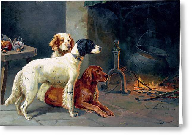 Recently Sold -  - Working Dog Greeting Cards - By the Fire Greeting Card by Alfred Duke