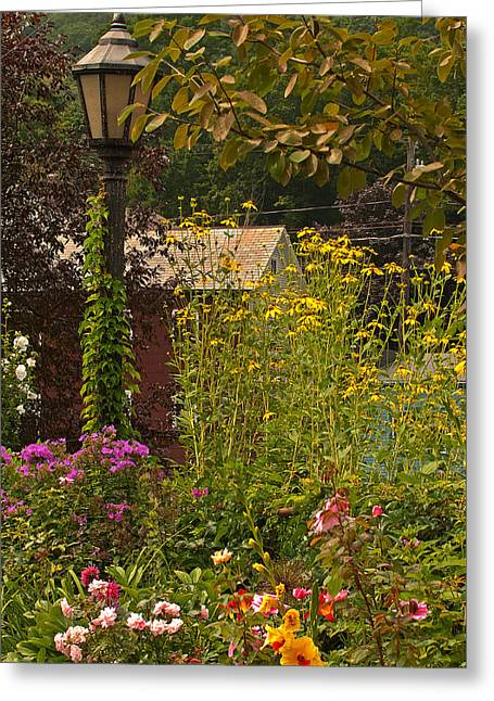 Bridge Of Flowers Greeting Cards - By the Light of the Garden Greeting Card by Paul Mangold