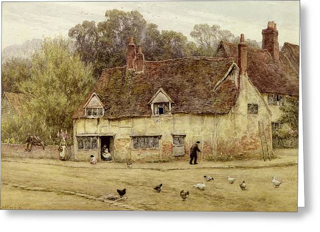 Half-timbered Greeting Cards - By the Old Cottage Greeting Card by Helen Allingham