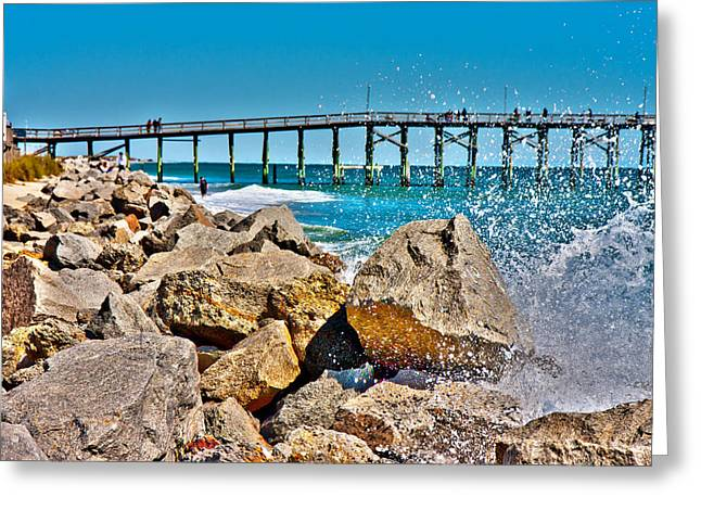 Turbulent Skies Photographs Greeting Cards - By the Pier Greeting Card by Betsy C  Knapp