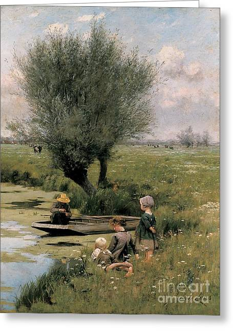 Punting Greeting Cards - By the Riverside Greeting Card by Emile Claus
