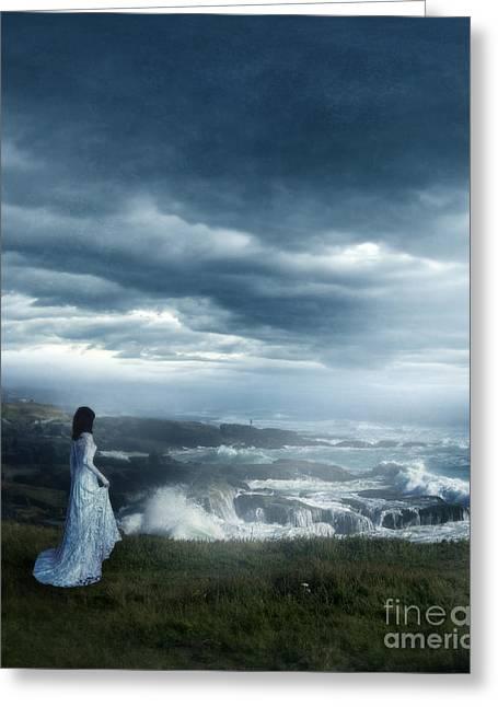 Foggy Ocean Greeting Cards - By the Stormy Sea Greeting Card by Jill Battaglia
