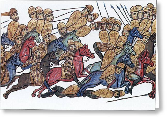 Byzantine Cavalrymen Rout Bulgarians Greeting Card by Photo Researchers