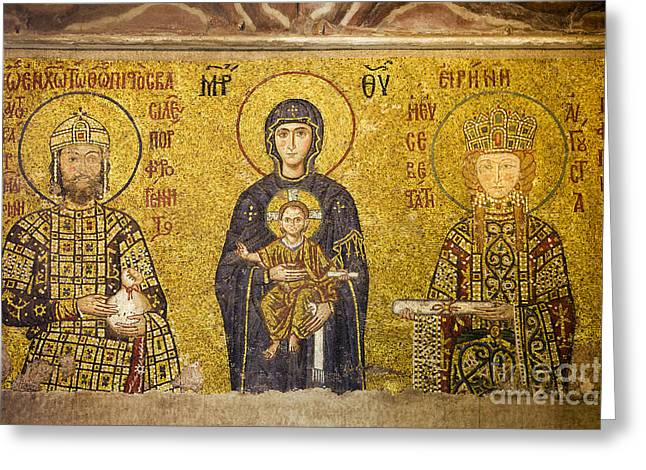 Icon Byzantine Photographs Greeting Cards - Byzantine Mosaic in Hagia Sophia Greeting Card by Artur Bogacki