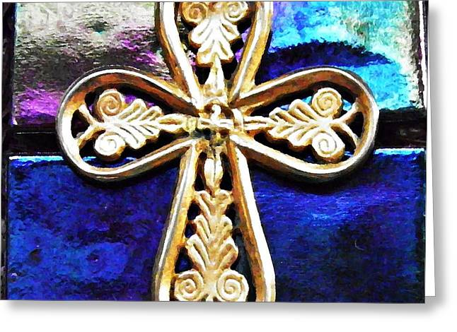 Byzantine Tree of Life Cross 3 Greeting Card by Sarah Loft