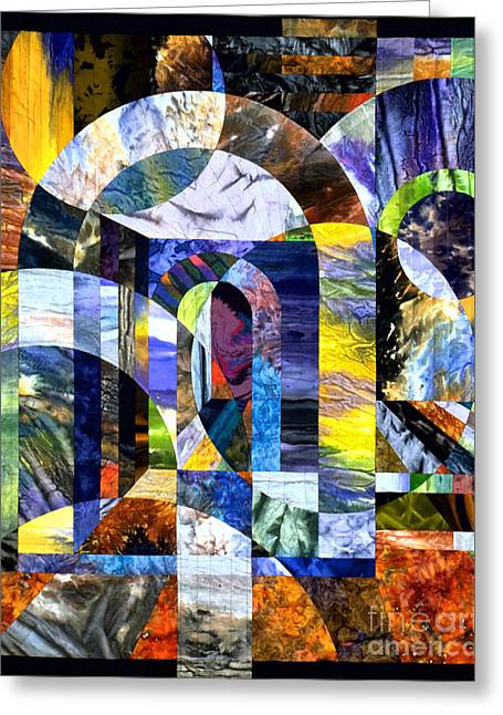 Abstract Quilt Tapestries - Textiles Greeting Cards - Byzantium IX Echoes Greeting Card by Marilyn Henrion
