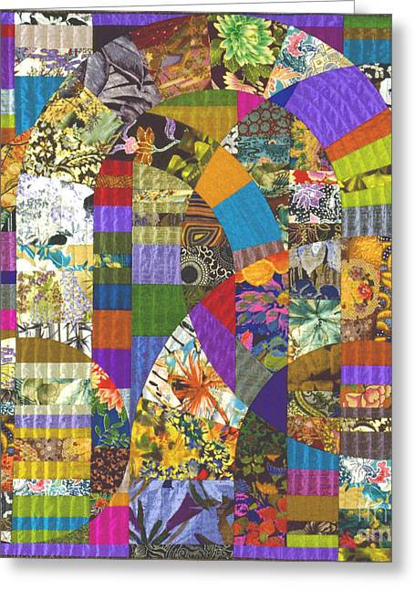 Abstract Quilt Tapestries - Textiles Greeting Cards - Byzantium VI Greeting Card by Marilyn Henrion