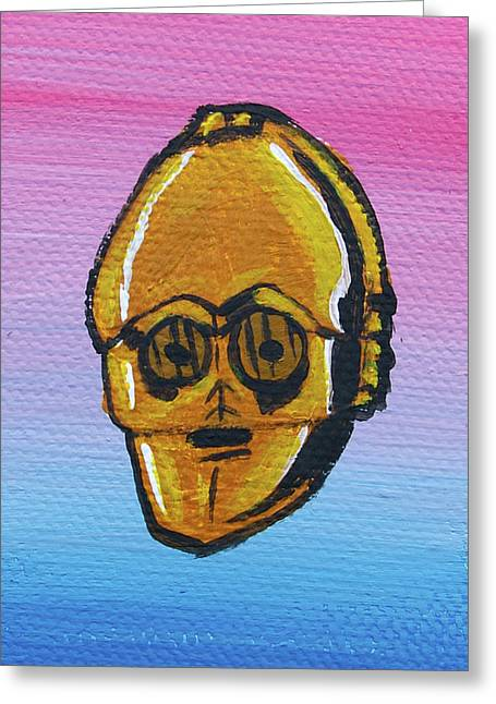 Character Portraits Greeting Cards - C-3po Greeting Card by Jera Sky
