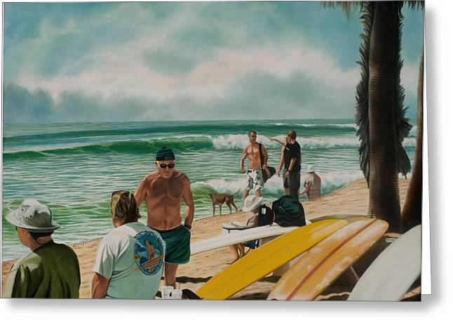 Surfing Contest Greeting Cards - C Street Surfing Contest Greeting Card by Douglas Fincham