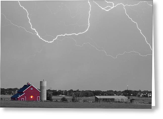 Red Barn Prints Greeting Cards - C2C Red Barn Lightning Rodeo BW SC Greeting Card by James BO  Insogna