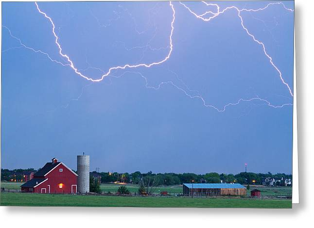 Red Barn Prints Greeting Cards - C2C Red Barn Lightning Rodeo  Greeting Card by James BO  Insogna