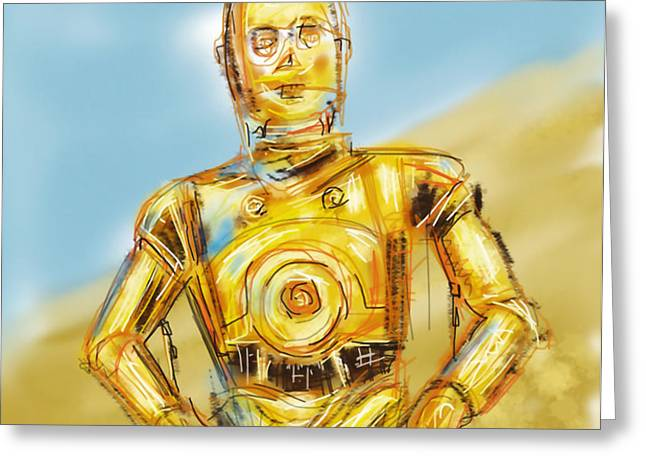 C3PO Greeting Card by Russell Pierce