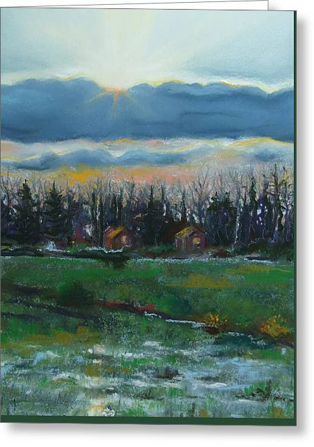 Dusk Pastels Greeting Cards - Cabanes dans les Bois Greeting Card by Marie-Claire Dole
