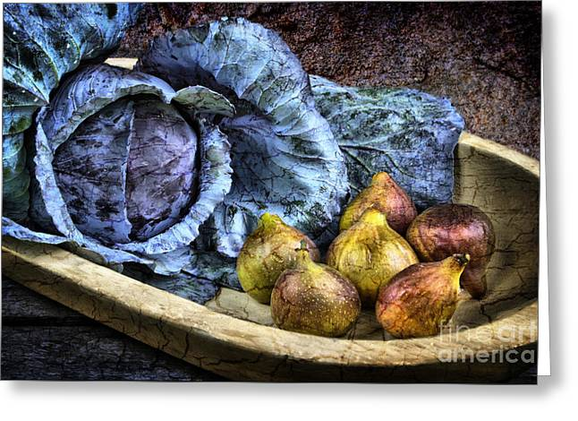 Cabbage and Figs Greeting Card by Sari Sauls