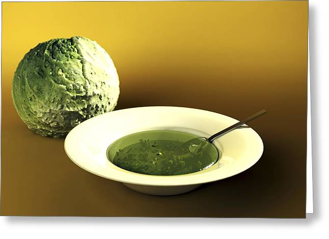 Low-calorie Greeting Cards - Cabbage And Soup, Computer Artwork Greeting Card by Christian Darkin