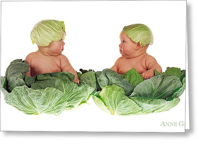 Room Greeting Cards - Cabbage Kids Greeting Card by Anne Geddes