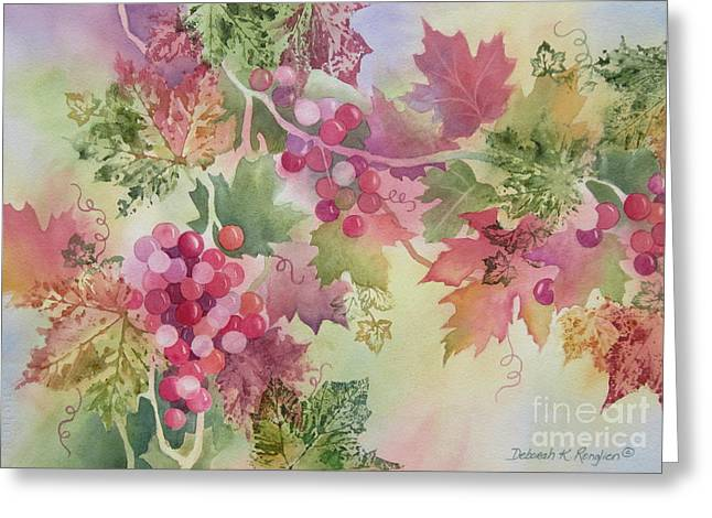Grapevines Paintings Greeting Cards - Cabernet Greeting Card by Deborah Ronglien