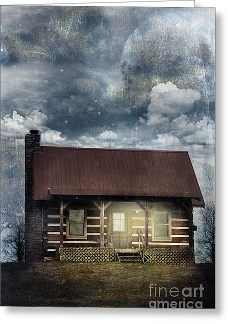 Night Terror Greeting Cards - Cabin at Night Greeting Card by Stephanie Frey