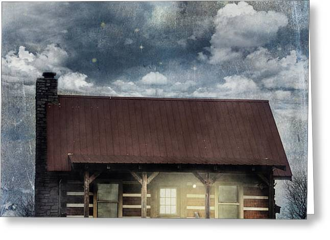 Cabin at Night Greeting Card by Stephanie Frey