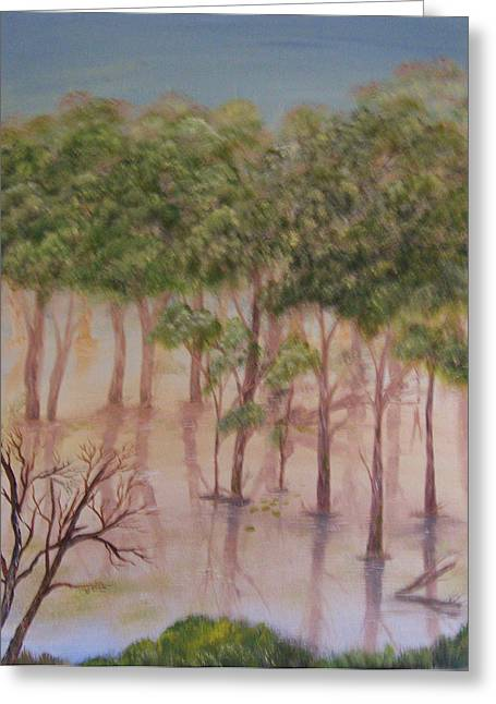 Spring Floods Paintings Greeting Cards - Cabin Flood Greeting Card by Renata Johnson