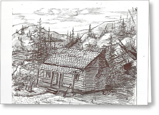 Mountain Cabin Mixed Media Greeting Cards - Cabin in the bush Greeting Card by Rick Stoesz