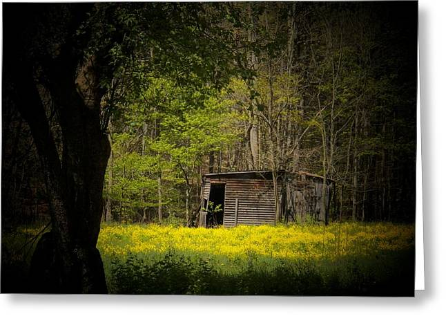 Cabin In The Flowers Greeting Card by Joyce Kimble Smith