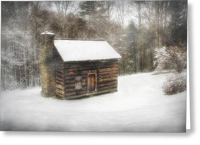 Cabin In The Fog Greeting Card by Christine Annas