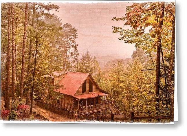 Red Roofed Barn Greeting Cards - Cabin in the Pines Greeting Card by Debra and Dave Vanderlaan