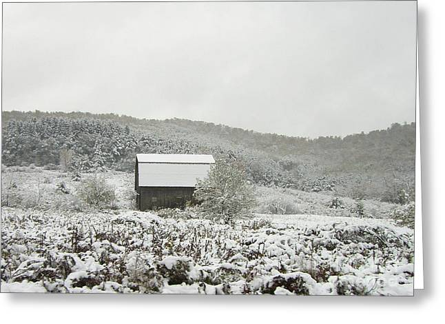 Cabin In The Snow Greeting Card by Michael Waters