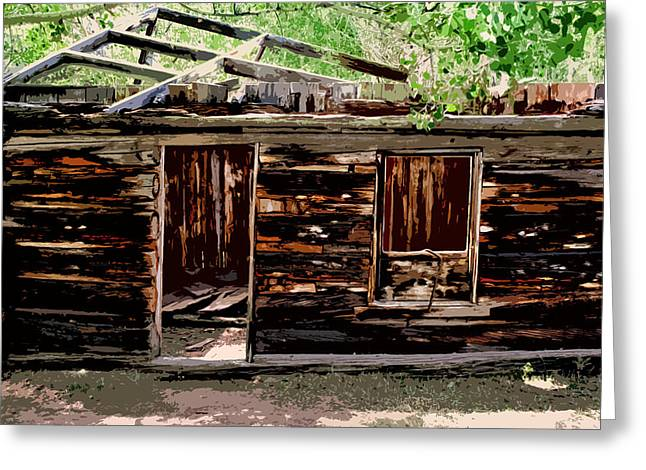Old Cabins Digital Art Greeting Cards - Cabin in the Woods Greeting Card by Ellen Heaverlo