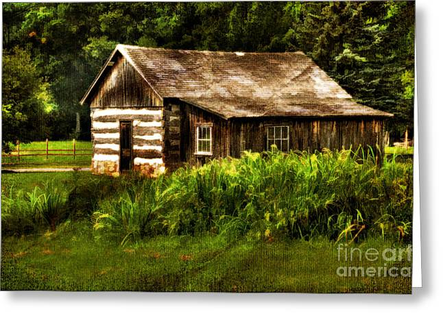 Cabin Window Digital Art Greeting Cards - Cabin In The Woods Greeting Card by Lois Bryan