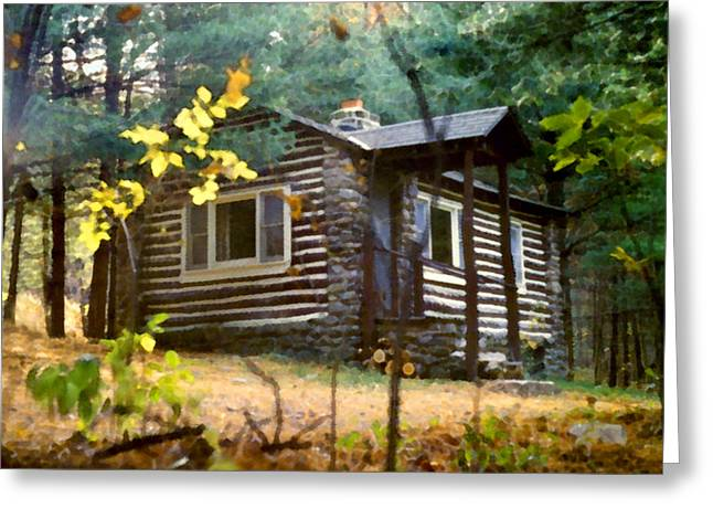 Log Cabins Greeting Cards - Cabin in the Woods Greeting Card by Paul Sachtleben