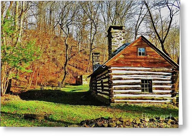 Log Cabins Greeting Cards - Cabin in the Woods Greeting Card by Snapshot  Studio