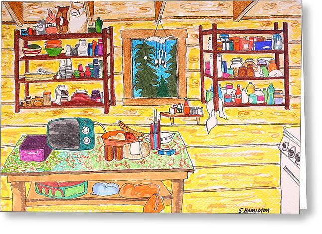 Hunting Cabin Greeting Cards - Cabin Kitchen Greeting Card by Sarah Hamilton