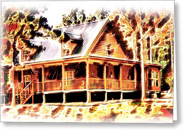 Cabin Interiors Digital Greeting Cards - Cabin on the Hill Greeting Card by Barry Jones