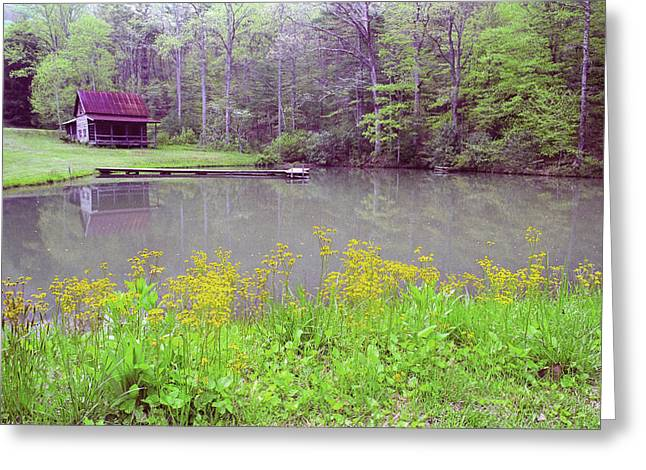 Log Cabins Greeting Cards - Cabin Reflection Greeting Card by Alan Lenk