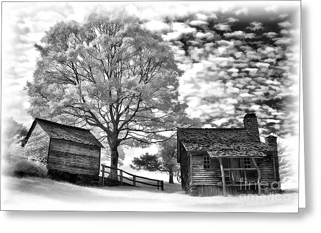 Cabin Wall Greeting Cards - Cabin Under Buttermilk Skies vignette Greeting Card by Dan Carmichael
